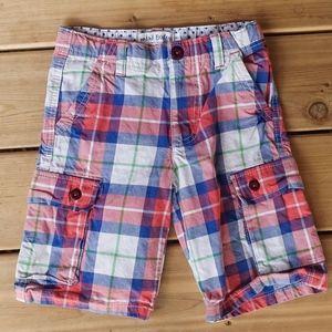 Mini Boden Plaid Boys Cargo Shorts